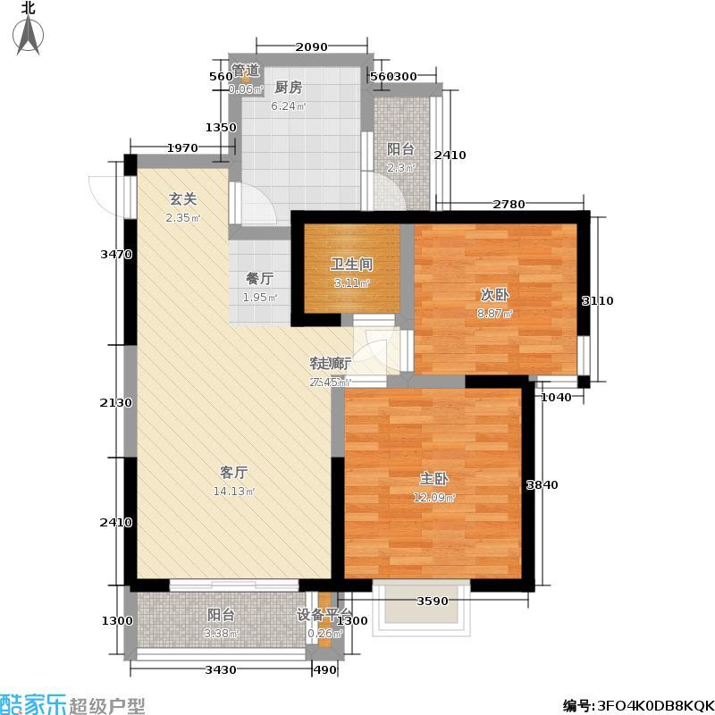 都江明珠83.00㎡一期6号楼标准层C4户型