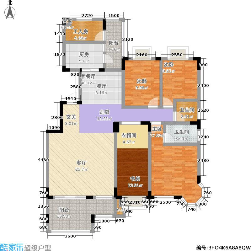 麓山翰林苑166.00㎡A3户型4室2厅2卫户型4室2厅2卫