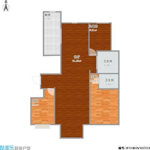 华北星城3室1厅2卫1厨139.00㎡户型图