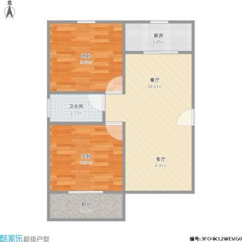 张桥小区2室1厅1卫1厨49.80㎡户型图