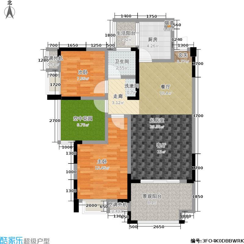 德坤海地亚88.00㎡一期13号楼标准层C3户型