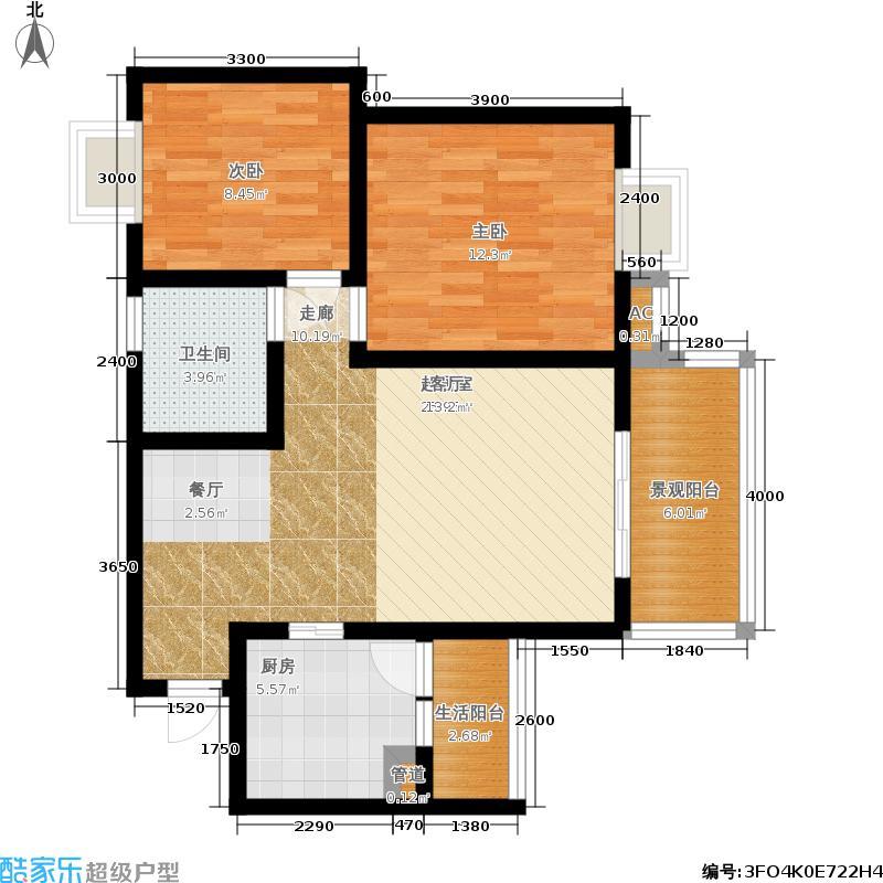 杜鹃城80.15㎡二期15号楼标准层F2户型
