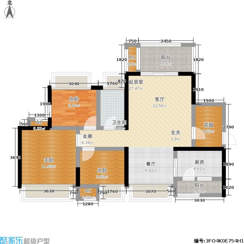 百悦城96.00㎡二期8、9、10、11号楼N1标准层户型