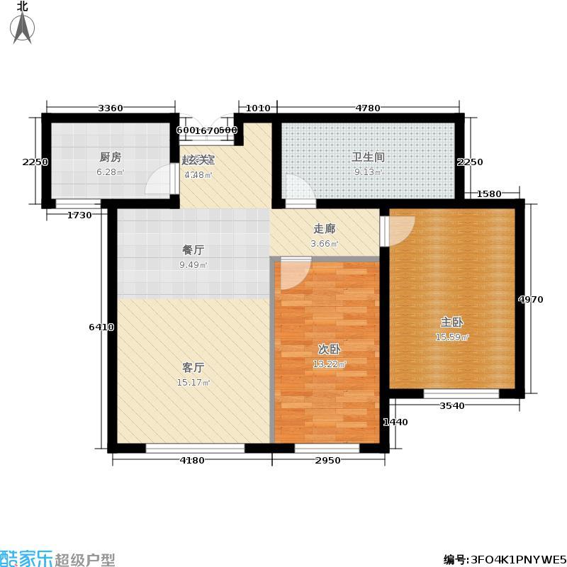 和美·紫晶花园86.57㎡和美紫晶花园B5户型2室1厅