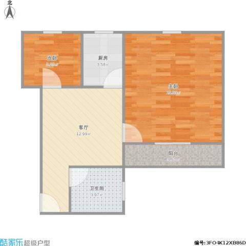 水霞小区2室1厅1卫1厨64.00㎡户型图