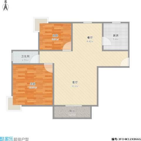 大宅风范城商业2室1厅1卫1厨85.00㎡户型图