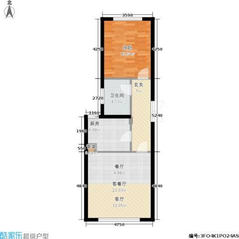 和美·紫晶花园1室1厅1卫1厨57.00㎡户型图