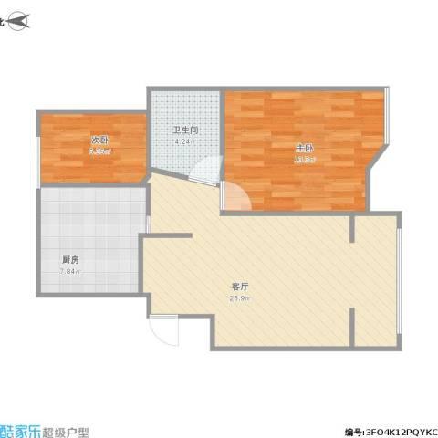滨湖御景湾2室1厅1卫1厨74.00㎡户型图