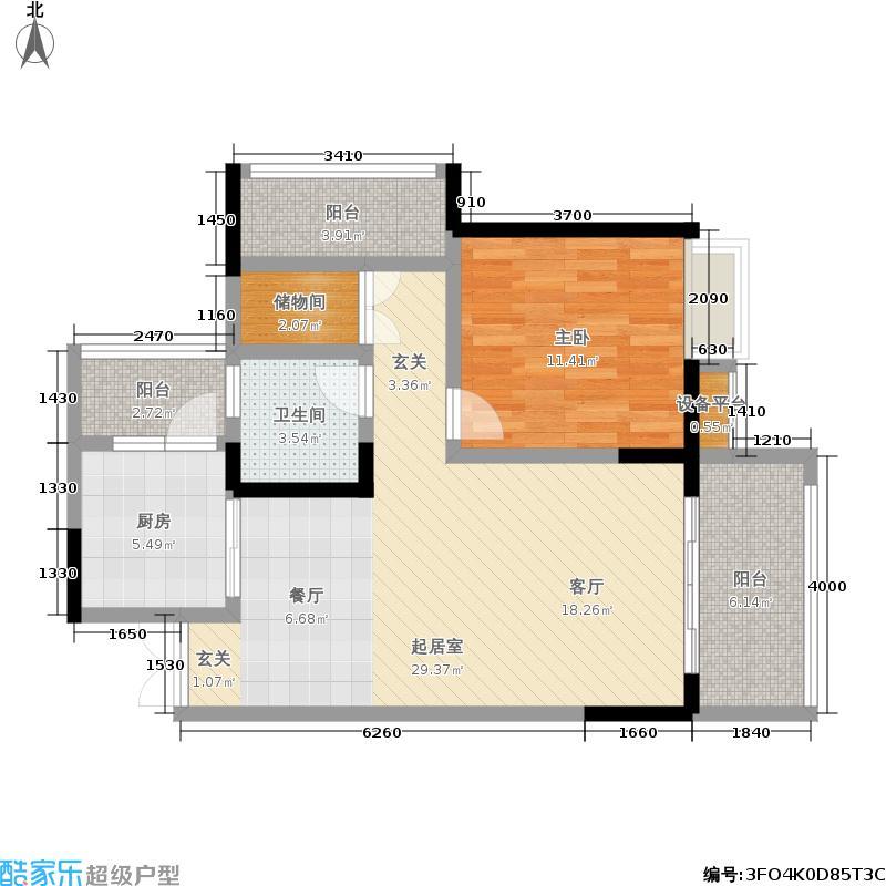 丰怡阳光78.74㎡三期2#楼1单元标准层A-012室户型