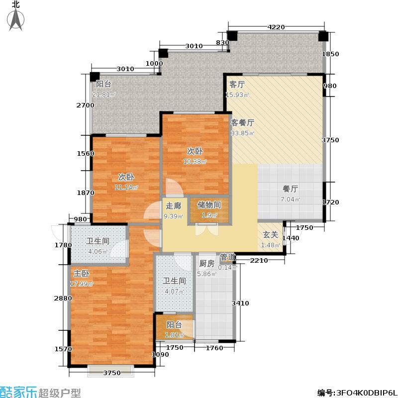 新都国际广场128.00㎡2号楼2-1-X型户型