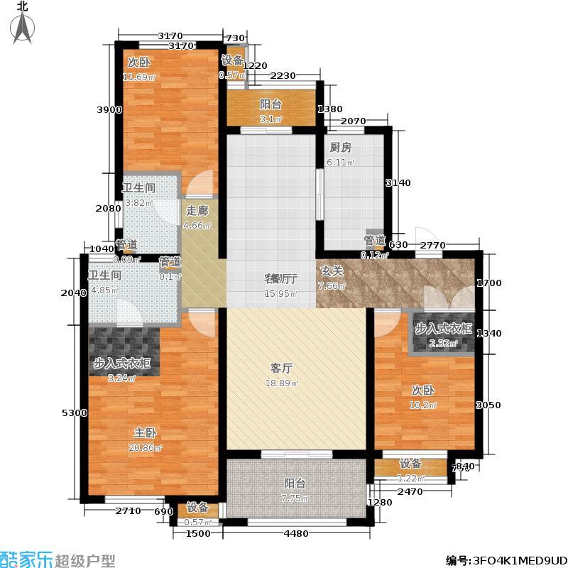 华润国际社区135.00㎡中央公园户型3室2厅