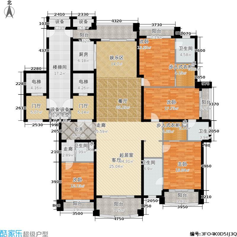 铂雅苑285.00㎡一期8号楼标准层B1户型