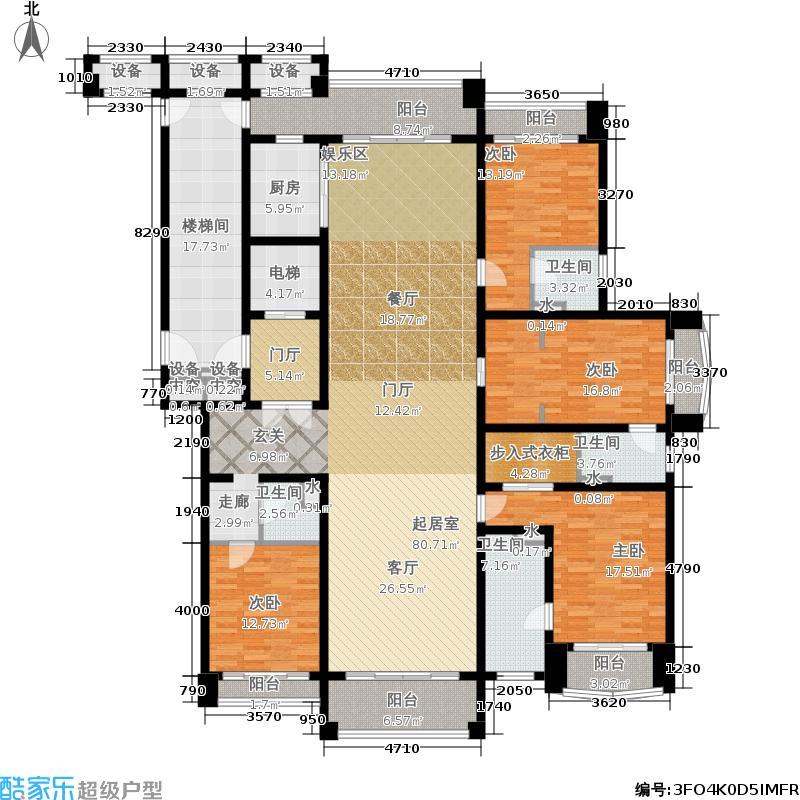 铂雅苑265.00㎡一期8号楼标准层B2户型