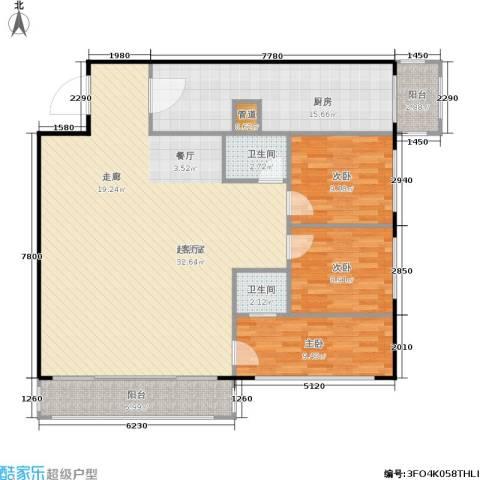 天通苑西一区3室0厅2卫1厨122.00㎡户型图