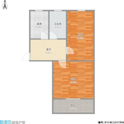 清涧二街坊2室1厅1卫1厨74.00㎡户型图