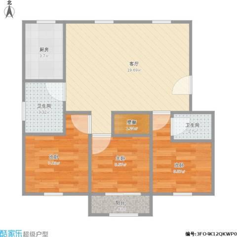 丽都家园3室1厅2卫1厨69.00㎡户型图