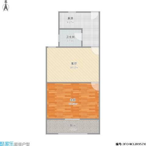 闻喜路930弄小区1室1厅1卫1厨76.00㎡户型图