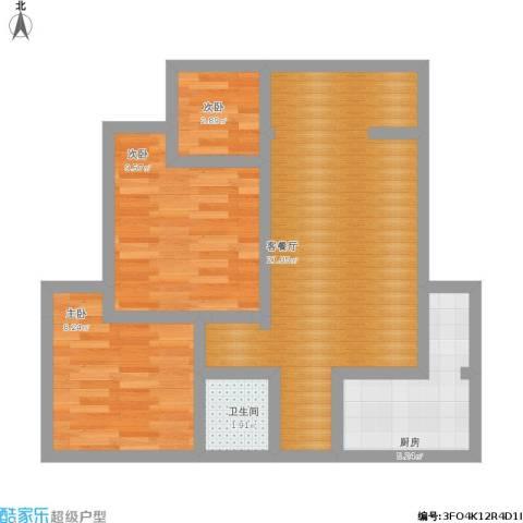 花园东路14号院3室1厅1卫1厨73.00㎡户型图