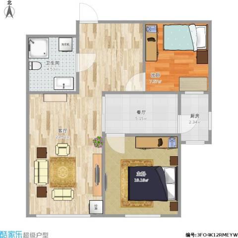 欣豪凤凰城2室2厅1卫1厨72.00㎡户型图