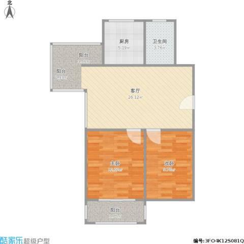 金马郦城二期2室1厅1卫1厨82.00㎡户型图