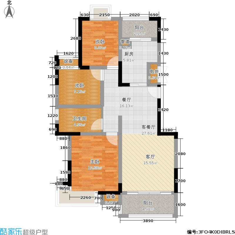绿洲国际96.20㎡一期3号楼标准层B户型