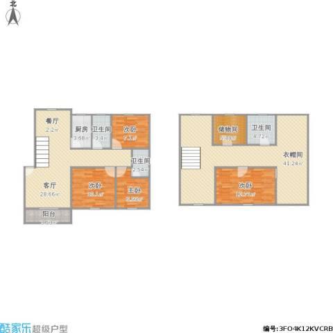 天乐小区4室1厅3卫1厨175.00㎡户型图