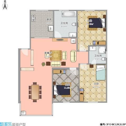 苏苑二村3室1厅2卫1厨138.00㎡户型图