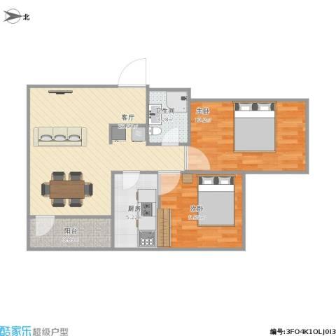 阜成路甲52号院2室1厅1卫1厨79.00㎡户型图