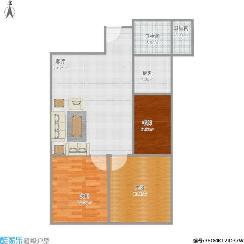 天籁华都3室1厅2卫1厨95.00㎡户型图