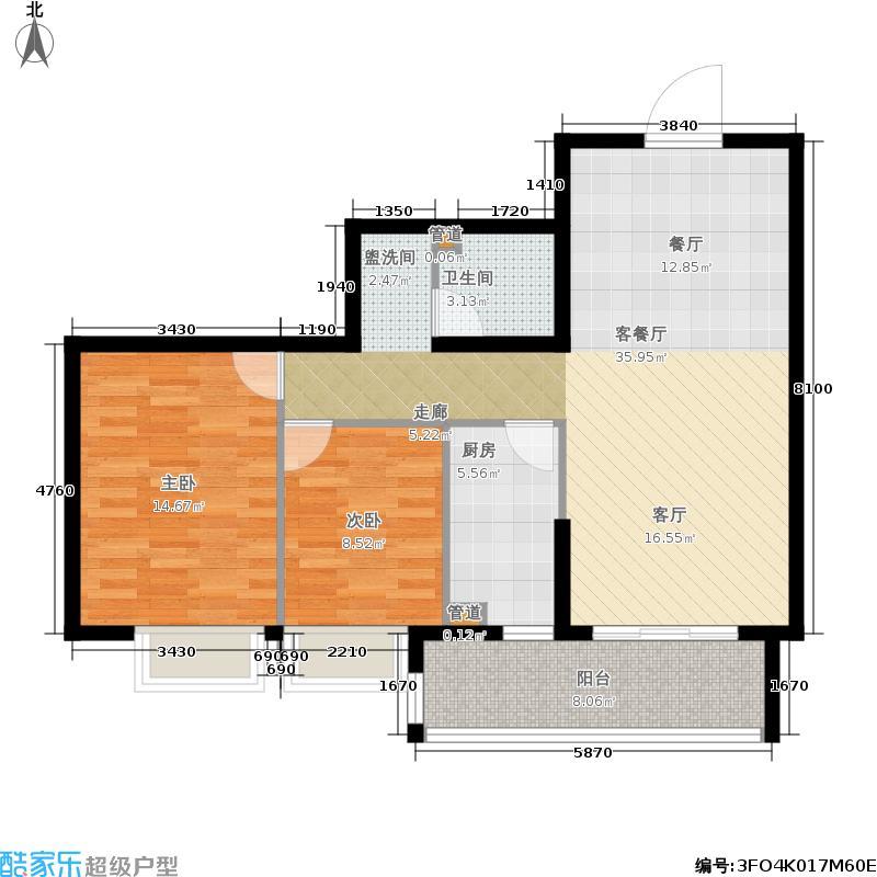 21世纪国际公寓86.19㎡二期61#楼面积8619m户型