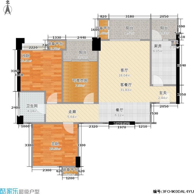 河滨鹭岛95.64㎡一期5号楼标准层C1户型