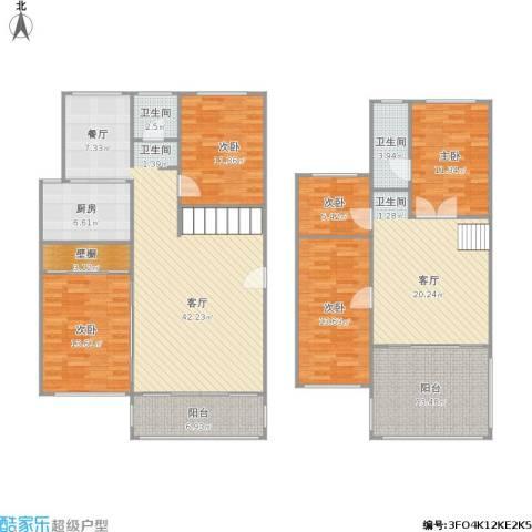 汇贤居5室2厅2卫1厨208.00㎡户型图
