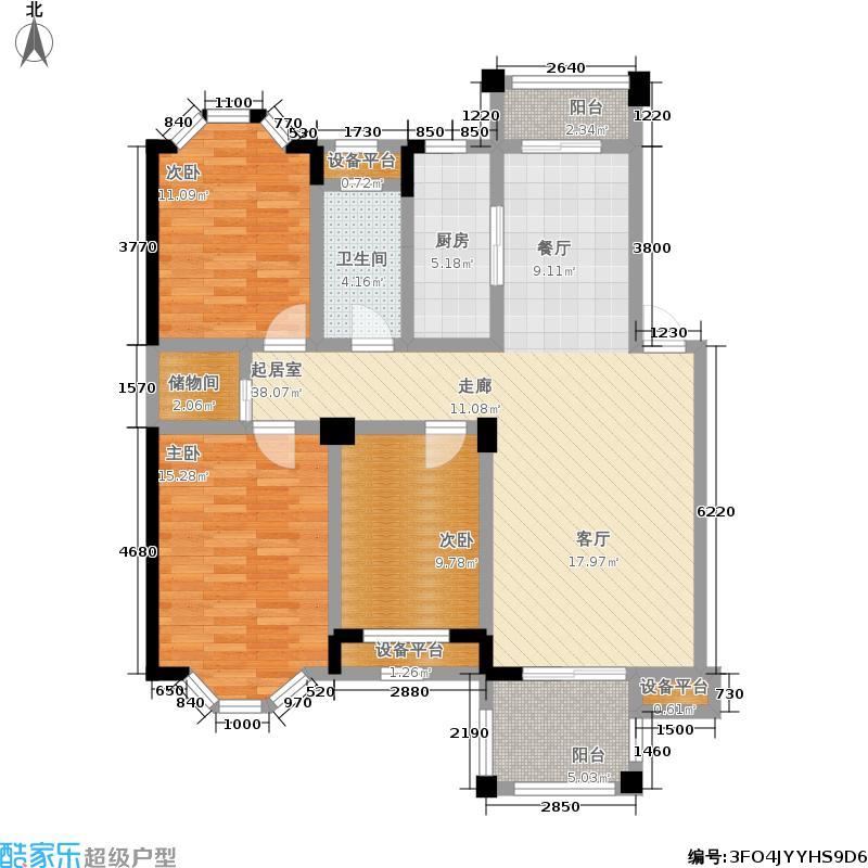 水岸新都花苑112.40㎡一期9幢1-6层E1户型
