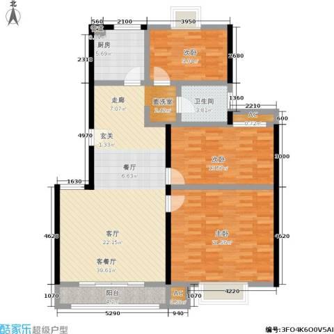 爱达花园紫藤园3室1厅1卫1厨111.00㎡户型图