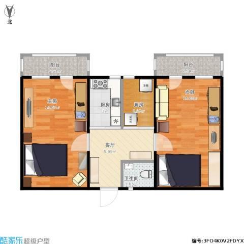 朝阳里2室1厅1卫2厨64.00㎡户型图