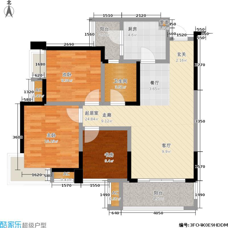 首创万卷山85.00㎡8栋电梯公寓b标准层户型