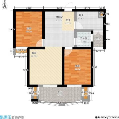 金城丽景2室0厅1卫1厨83.00㎡户型图