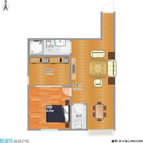 青年苑小区1室1厅1卫1厨64.00㎡户型图