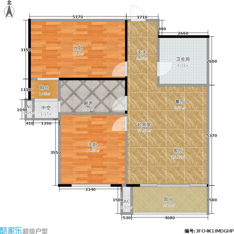 怀特翰墨儒林83.57㎡5#楼B户型2室2厅