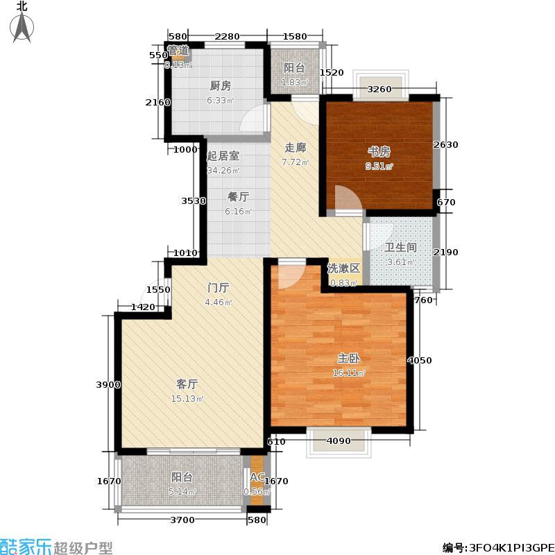 经纬学府阳光家园88.00㎡B户型2室2厅