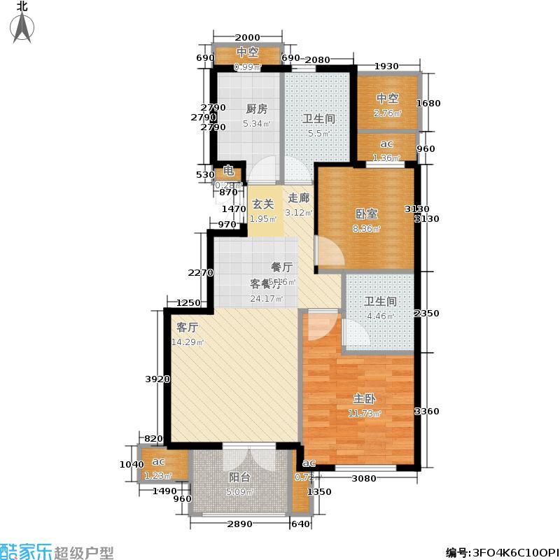 星桥桂花城90.00㎡1、2、7、8、10、11、12号楼中间套户型2室2厅1卫