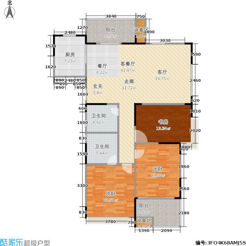 浙建枫华紫园K1b户型3室1厅2卫1厨