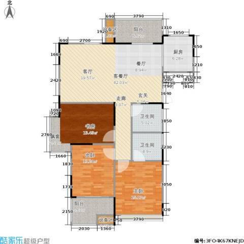 浙建枫华紫园3室1厅2卫1厨125.00㎡户型图