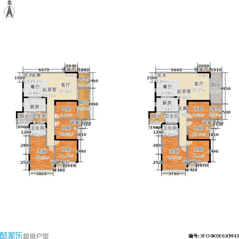 海悦豪庭141.32㎡一期1号楼标准层B3户型