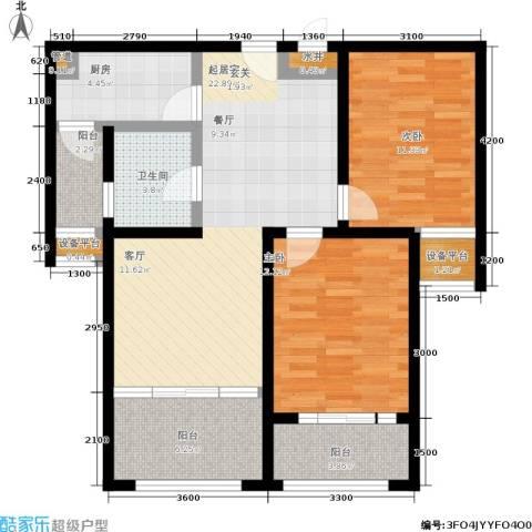金城丽景2室0厅1卫1厨87.00㎡户型图