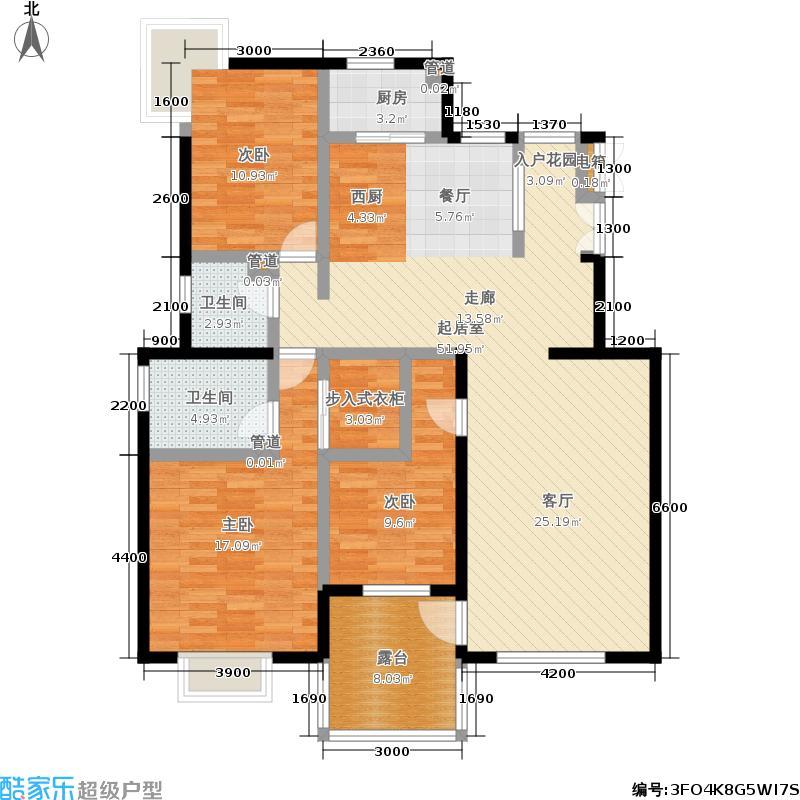 顶秀青溪135.74㎡6.5FD户型三室二厅二卫户型