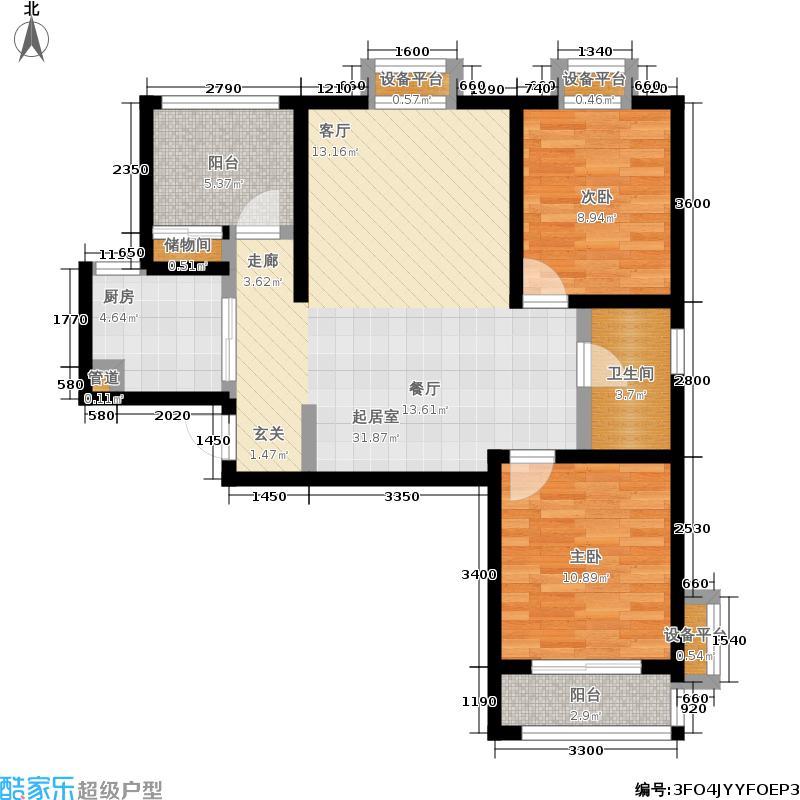 金城丽景92.17㎡二期01、02栋小高层标准层A2-2户型
