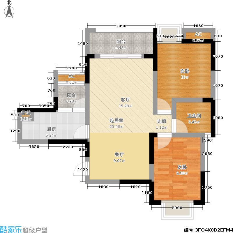 阳城心灵家园81.00㎡一期1号楼标准层E1-3户型