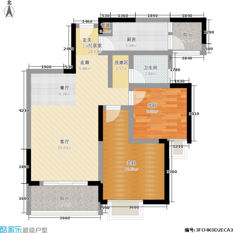 阳城心灵家园87.00㎡一期1号楼标准层E-2、E1-2户型