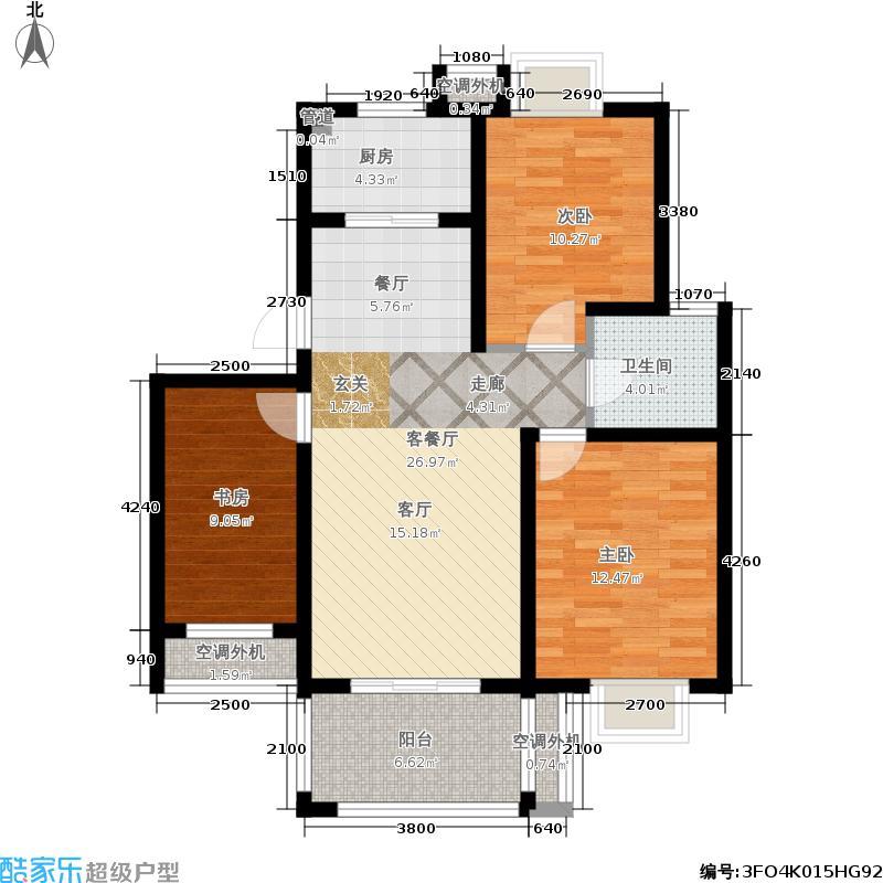 兰亭雅苑104.00㎡三期17-18号楼2面积10400m户型